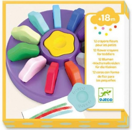 Djeco 12 Flower Crayons for Toddlers DJ09005